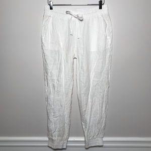 Cloth & Stone White Linen Drawstring Jogger Pants
